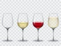 Set transparent vector wine glasses stock illustration