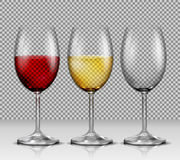 Set transparent vector wine glasses empty, with white and red wine Royalty Free Stock Photo