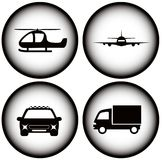 Set transport on glowing icons Royalty Free Stock Photo