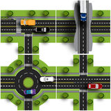 Set transport hub. The intersections of various roads. Roundabout Circulation. Traffic. Objects with shadow. Vector illustration Stock Photos
