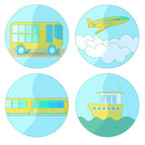 Set transport icon ship, plane, train, bus. vector illustration Royalty Free Stock Photo
