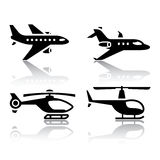 Set of transport icons - airbus and helicopter. Set of transport icons airbus and helicopter Royalty Free Stock Photography