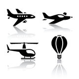 Set of transport icons - aircrafts  Stock Photography
