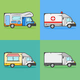 Set of transport icons. Camper, ambulance, food truck and cargo truck. Stock Photo