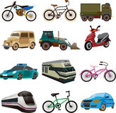 Set of transport icons. Cartoon vector illustration Royalty Free Stock Image