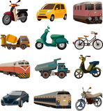 Set of transport icons. Cartoon vector illustration Royalty Free Stock Photos