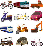 Set of transport icons. Cartoon vector illustration Stock Photo