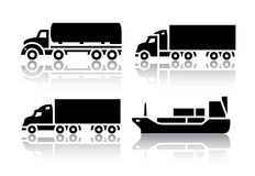 Set of transport icons - Freight transport Royalty Free Stock Photo
