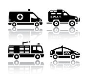 Set of transport icons - Rescue. Vector illustrations, set silhouettes  on white background Royalty Free Stock Photography