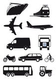 Set of transport icons. Silhouetted set of transport icons isolated on a white background Royalty Free Stock Image