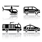 Set of transport icons - transport services. Vector illustrations, set silhouettes  on white background Royalty Free Stock Images