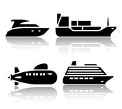 Set of transport icons - Water transport Royalty Free Stock Photos