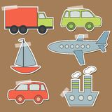 Set of transport stickers for babies.  Stock Photography