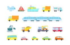 set transport Variationsmaskiner, metoder last och passagerare Original- vektorillustration Barnstil Royaltyfria Bilder