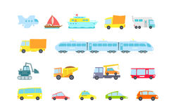 Set of transport. Variety machines, methods cargo and passengers. Original vector illustration. Children style. Royalty Free Stock Images