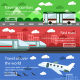 Set of transportation banners in flat design. Logistics and delivery concept vector. Bus, train, air transport Royalty Free Stock Photos