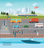 Set of transportation and city traffic. Set of transportation and city traffic info graphics elements, cartoon flat design logistic Vector illustration royalty free illustration