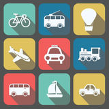 Set of transportation icons on colorfull backgrounds, trolleybus Royalty Free Stock Photos