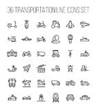 Set of transportation icons in modern thin line style. stock illustration