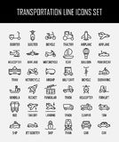 Set of transportation icons in modern thin line style. vector illustration