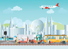 Set of transportation logistic and city traffic on city view. Stock Image