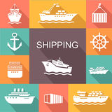 Set of transportation and shipping colored icons Stock Image