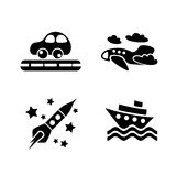 Set of transportation toys icons Royalty Free Stock Image
