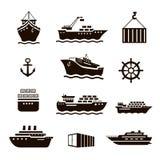 Set transportu i wysyłki ikony ilustracji