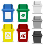 Set of Trash bin with symbol in flat icon style Stock Photos