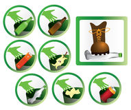 Set of trash icons and signs for recycling. Isolated vectors on white background Royalty Free Stock Photos