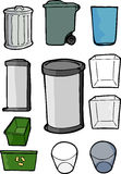 Set of Trash and Recycling Cans. Drawings of various cans and bins used for trash, garbage and recycling purposes Royalty Free Stock Photos