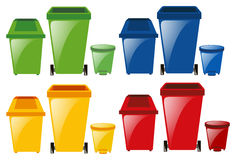 Set of trashcans in different colors. Illustration Royalty Free Stock Photo