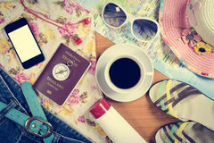 Set of travel accessory background Royalty Free Stock Photography