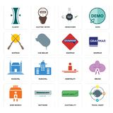 Set of travel agent, adaptability, bank branch, hospitality, municipal, grammar, shotgun, order form, elastic icons. Set Of 16 simple  icons such as travel agent Royalty Free Stock Photos