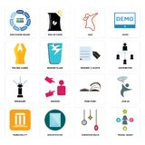 Set of travel agent, christmas bulb, municipality, page turn, sprinkler, request a quote, folded hands, dab, discussion board icon. Set Of 16 simple editable Stock Photos