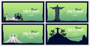Set of travel banners to Brazil. Time to Travel. Journey, trip and vacation. Vector flat illustration. Set of travel banners to Brazil. Time to Travel. Journey Stock Image