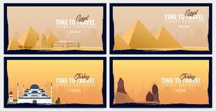 Set of travel banners to Egypt and Turkey. Time to Travel. Journey, trip and vacation. Vector flat illustration. Set of travel banners to Egypt and Turkey. Time Royalty Free Stock Photography