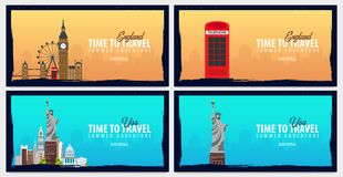 Set of travel banners to England and USA. Time to Travel. Journey, trip and vacation. Vector flat illustration. stock illustration
