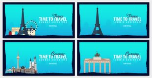 Set of travel banners to France and Germany. Time to Travel. Journey, trip and vacation. Vector flat illustration. Set of travel banners to France and Germany Stock Photo
