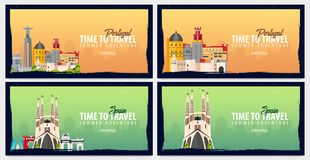 Set of travel banners to Portugal and Spain. Time to Travel. Journey, trip and vacation. Vector flat illustration. Set of travel banners to Portugal and Spain Royalty Free Stock Images
