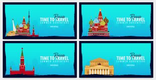 Set of travel banners to Russia. Time to Travel. Journey, trip and vacation. Vector flat illustration. Set of travel banners to Russia. Time to Travel. Journey Royalty Free Stock Photos