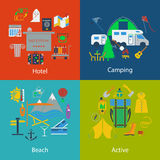Set of Travel and Camping designs royalty free illustration