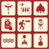 Set of travel and camping equipment icons. Vector illustration Royalty Free Stock Photos