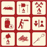 Set of travel and camping equipment icons. Vector illustration Royalty Free Stock Photography