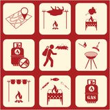 Set of travel and camping equipment icons. Vector illustration Stock Images