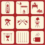 Set of travel and camping equipment icons. Vector illustration Royalty Free Stock Photo