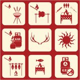 Set of travel and camping equipment icons. Vector illustration Royalty Free Stock Images