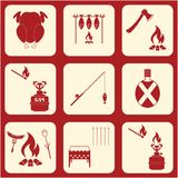 Set of travel and camping equipment icons. Vector illustration Stock Photos