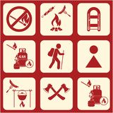 Set of travel and camping equipment icons. Vector illustration Stock Photography