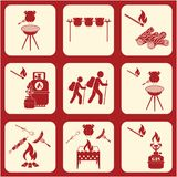 Set of travel and camping equipment icons. Vector illustration Stock Image